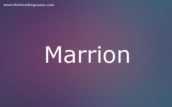 Baby Name Poster For Marrion