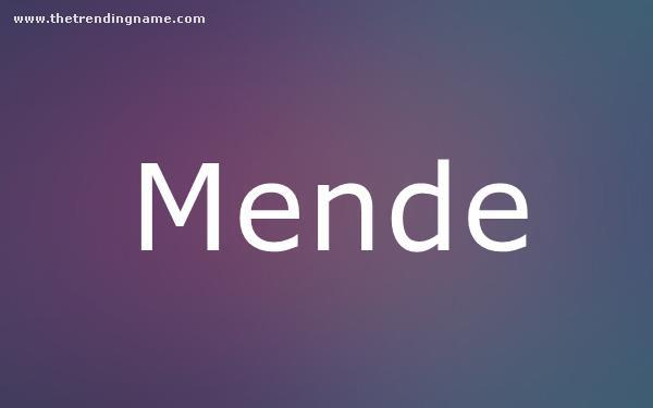 Baby Name Poster For Mende