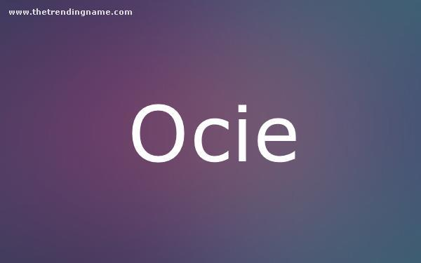 Baby Name Poster For Ocie