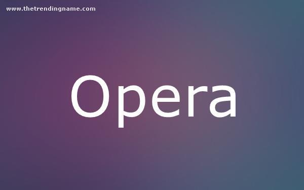 Baby Name Poster For Opera