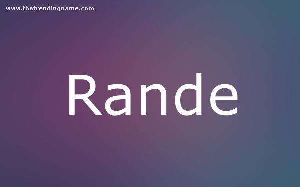Baby Name Poster For Rande