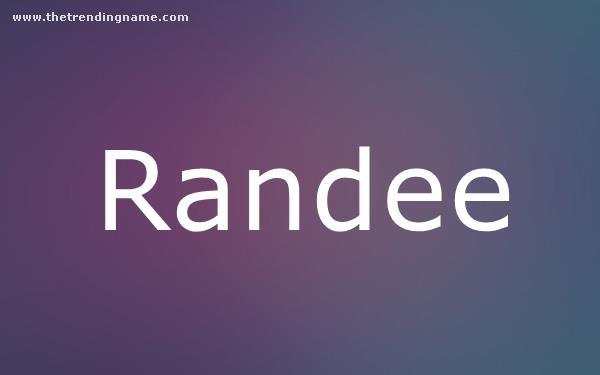 Baby Name Poster For Randee