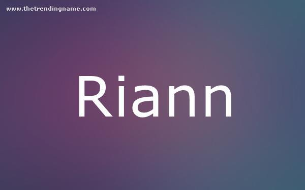 Baby Name Poster For Riann