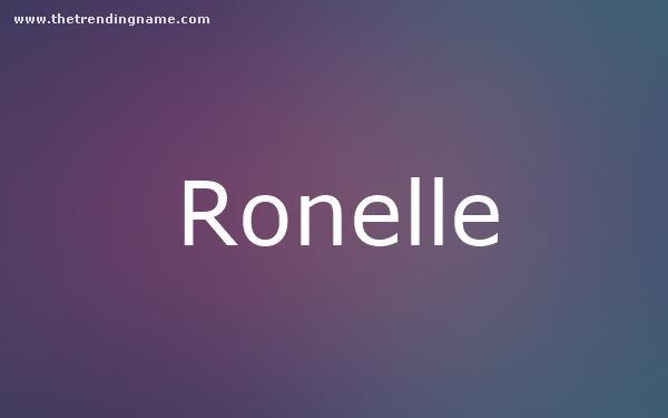 Baby Name Poster For Ronelle