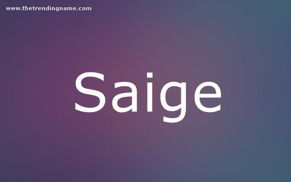 Baby Name Poster For Saige
