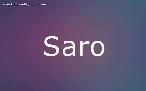 Baby Name Poster For Saro