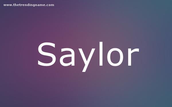 Baby Name Poster For Saylor