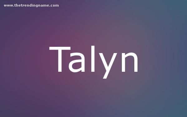 Baby Name Poster For Talyn