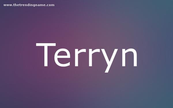 Baby Name Poster For Terryn