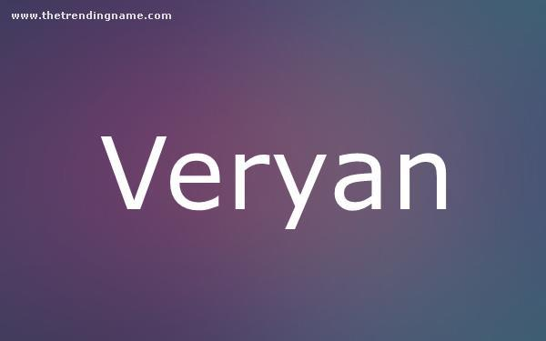 Baby Name Poster For Veryan