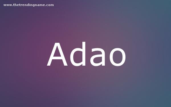 Baby Name Poster For Adao