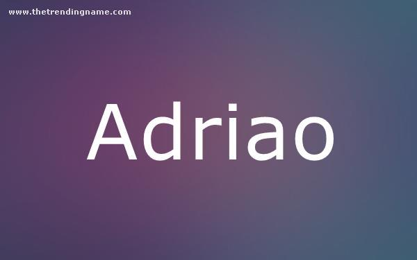 Baby Name Poster For Adriao