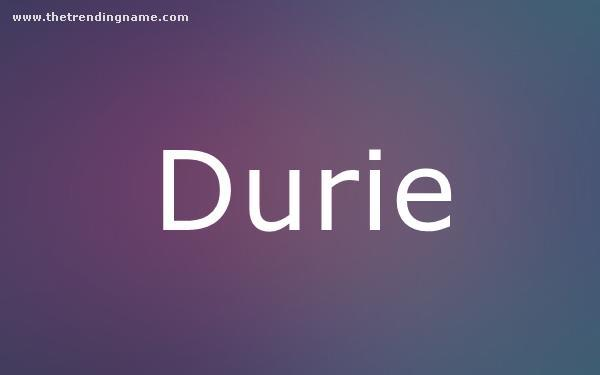Baby Name Poster For Durie