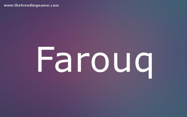 Baby Name Poster For Farouq