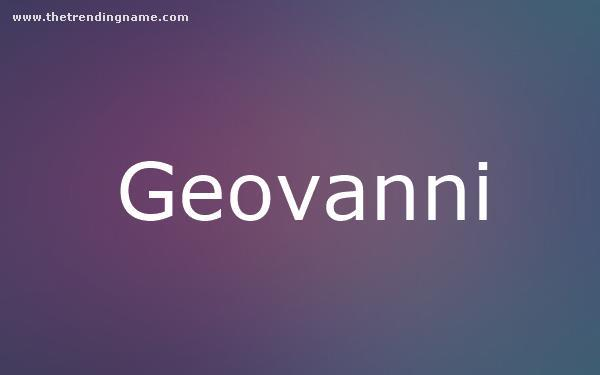 Baby Name Poster For Geovanni