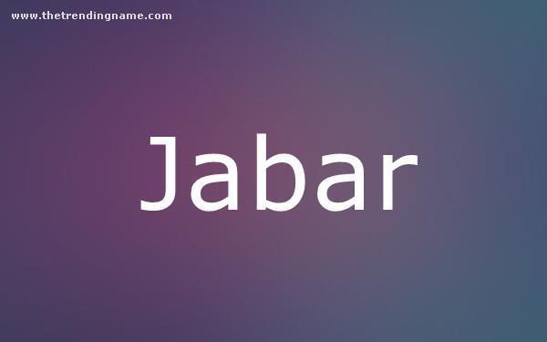 Baby Name Poster For Jabar