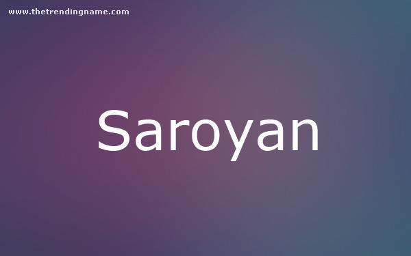 Baby Name Poster For Saroyan
