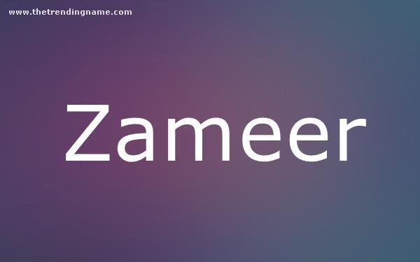 Baby Name Poster For Zameer