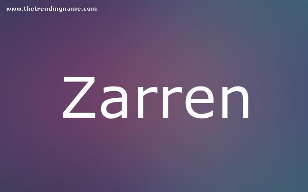 Baby Name Poster For Zarren