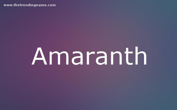 Baby Name Poster For Amaranth