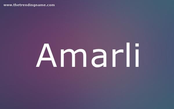 Baby Name Poster For Amarli