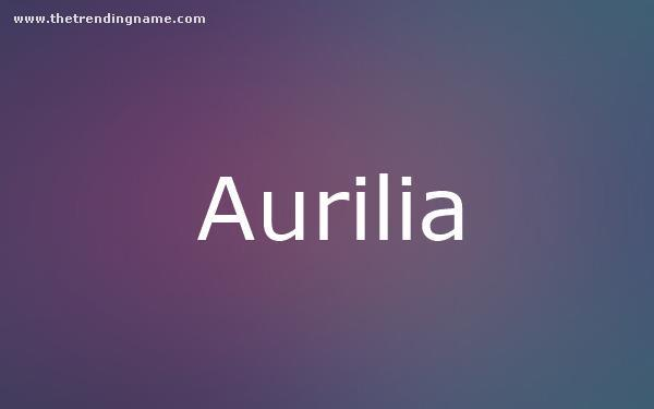 Baby Name Poster For Aurilia