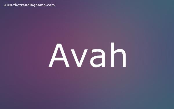 Baby Name Poster For Avah