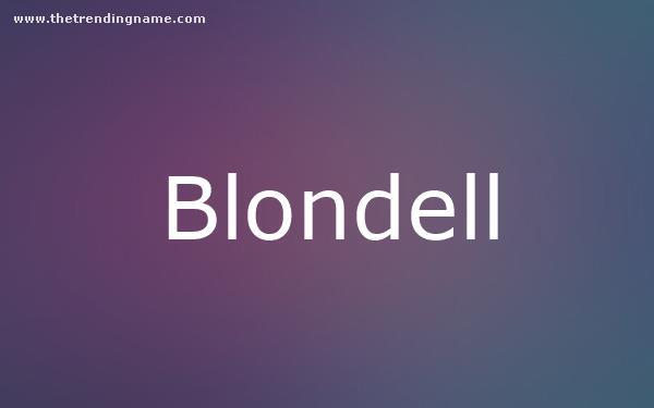 Baby Name Poster For Blondell