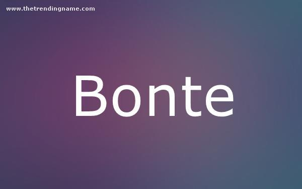 Baby Name Poster For Bonte