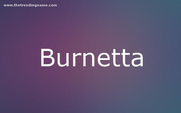 Baby Name Poster For Burnetta
