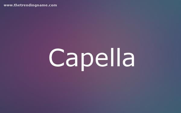 Baby Name Poster For Capella