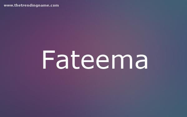 Baby Name Poster For Fateema