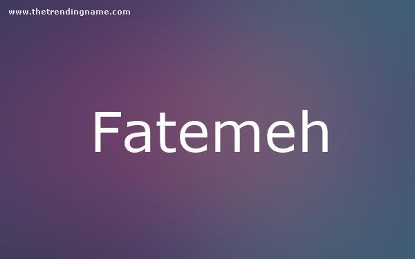 Baby Name Poster For Fatemeh
