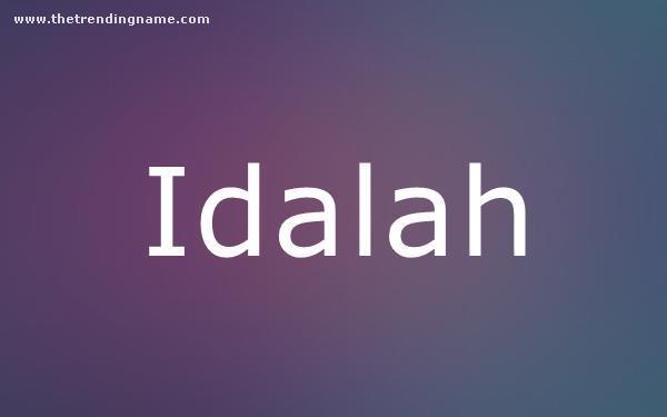 Baby Name Poster For Idalah