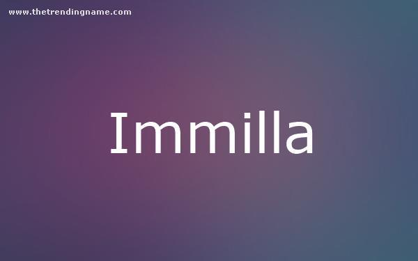 Baby Name Poster For Immilla