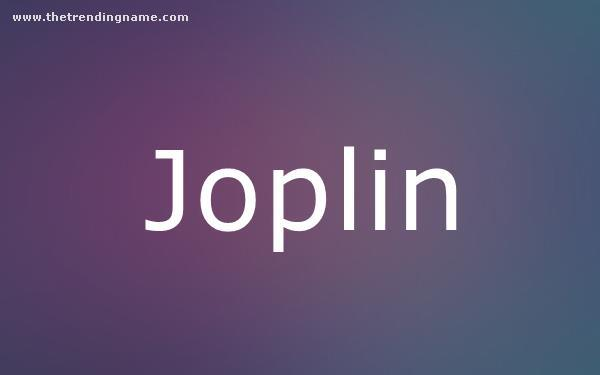 Baby Name Poster For Joplin
