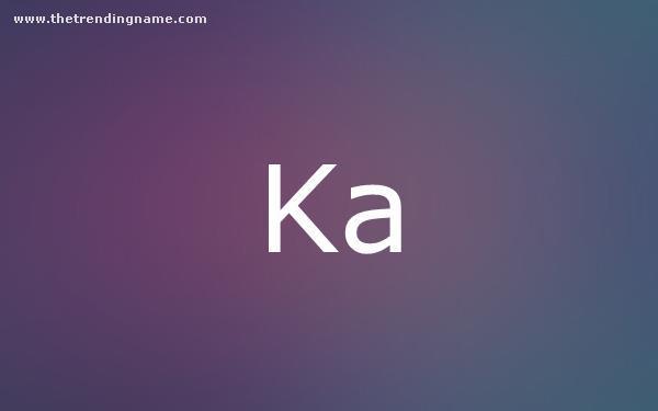 Baby Name Poster For Ka