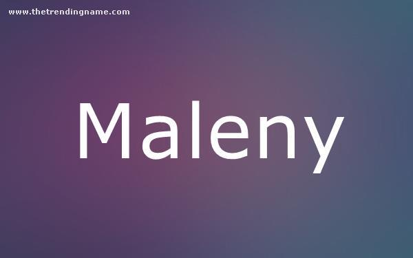 Baby Name Poster For Maleny