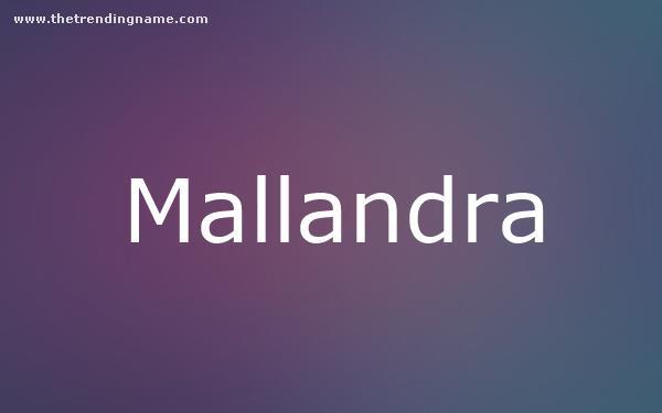 Baby Name Poster For Mallandra