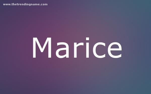 Baby Name Poster For Marice