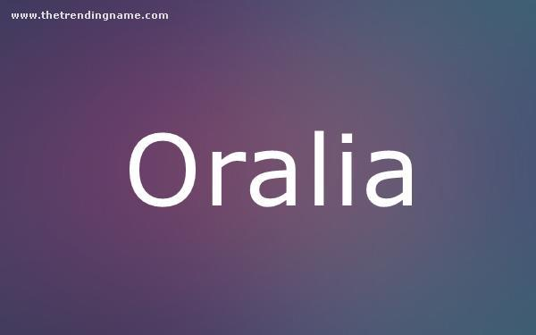 Baby Name Poster For Oralia
