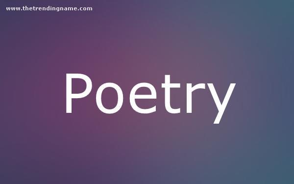 Baby Name Poster For Poetry