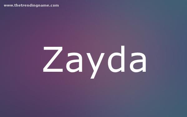 Baby Name Poster For Zayda