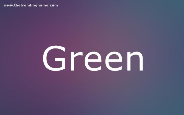Baby Name Poster For Green
