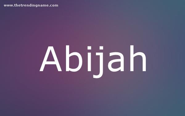 Baby Name Poster For Abijah