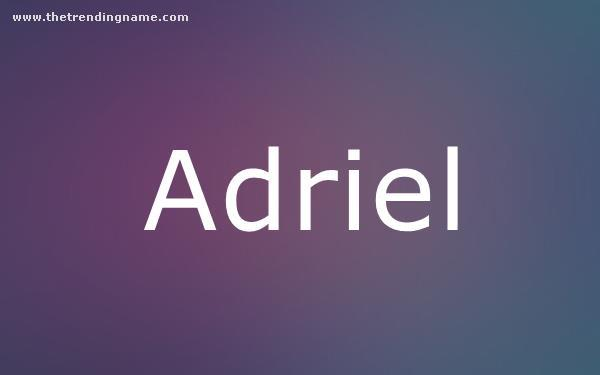 Baby Name Poster For Adriel