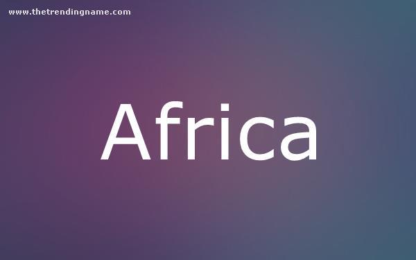 Baby Name Poster For Africa