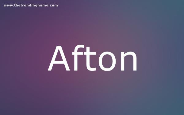 Baby Name Poster For Afton
