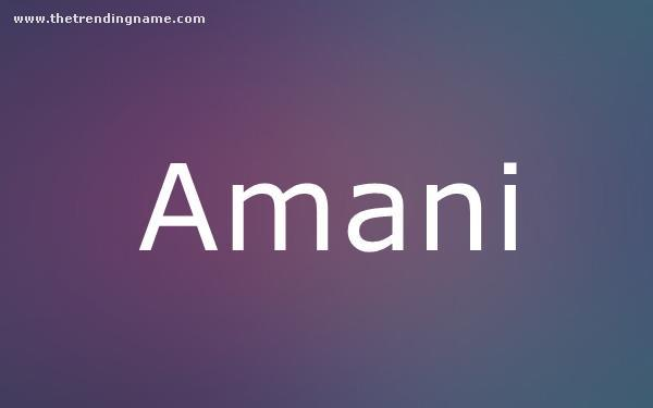 Baby Name Poster For Amani