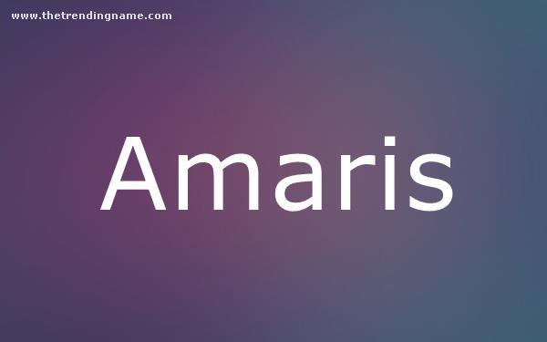 Baby Name Poster For Amaris